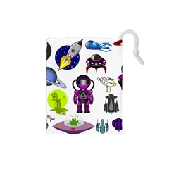 Space Clip Art Aliens Space Craft Drawstring Pouches (small)