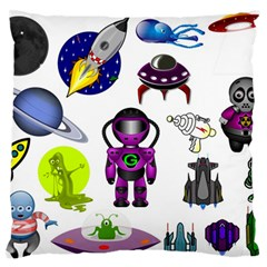 Space Clip Art Aliens Space Craft Large Flano Cushion Case (two Sides)