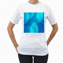 Abstract Blue Wallpaper Wave Women s T Shirt (white) (two Sided)