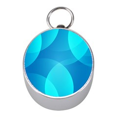 Abstract Blue Wallpaper Wave Mini Silver Compasses