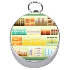 Supermarket Shelf Coffee Tea Grains Silver Compasses