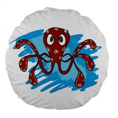 Octopus Sea Ocean Cartoon Animal Large 18  Premium Flano Round Cushions