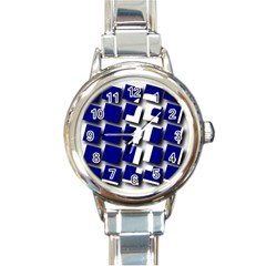 Facebook Social Media Network Blue Round Italian Charm Watch