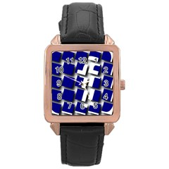 Facebook Social Media Network Blue Rose Gold Leather Watch