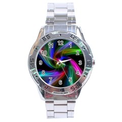 Peacock Bird Animal Feather Stainless Steel Analogue Watch