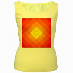 Pattern Retired Background Orange Women s Yellow Tank Top