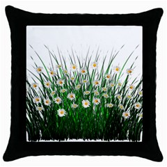 Spring Flowers Grass Meadow Plant Throw Pillow Case (black)