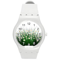 Spring Flowers Grass Meadow Plant Round Plastic Sport Watch (m)
