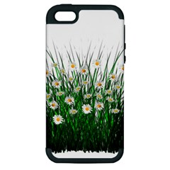 Spring Flowers Grass Meadow Plant Apple Iphone 5 Hardshell Case (pc+silicone)