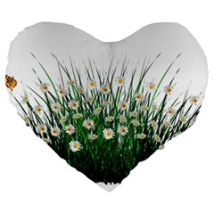 Spring Flowers Grass Meadow Plant Large 19  Premium Heart Shape Cushions