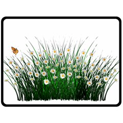 Spring Flowers Grass Meadow Plant Double Sided Fleece Blanket (large)