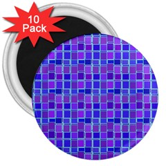 Background Mosaic Purple Blue 3  Magnets (10 Pack)