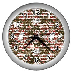 Grunge Textured Abstract Pattern Wall Clocks (silver)
