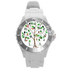Tree Root Leaves Owls Green Brown Round Plastic Sport Watch (l)