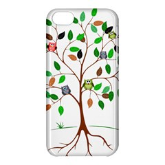 Tree Root Leaves Owls Green Brown Apple Iphone 5c Hardshell Case