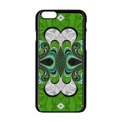 Fractal Art Green Pattern Design Apple Iphone 6/6s Black Enamel Case