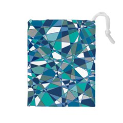 Abstract Background Blue Teal Drawstring Pouches (large)