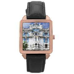 Squad Latvia Architecture Rose Gold Leather Watch