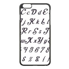 Font Lettering Alphabet Writing Apple Iphone 6 Plus/6s Plus Black Enamel Case