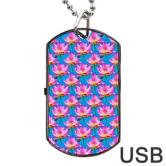 Seamless Flower Pattern Colorful Dog Tag Usb Flash (two Sides)