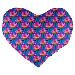 Seamless Flower Pattern Colorful Large 19  Premium Flano Heart Shape Cushions