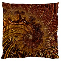 Copper Caramel Swirls Abstract Art Large Flano Cushion Case (two Sides)