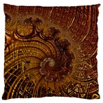 Copper Caramel Swirls Abstract Art Large Flano Cushion Case (Two Sides) Back