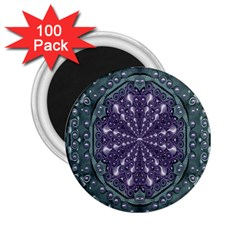 Star And Flower Mandala In Wonderful Colors 2 25  Magnets (100 Pack)