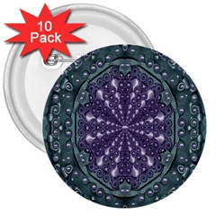 Star And Flower Mandala In Wonderful Colors 3  Buttons (10 Pack)