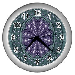 Star And Flower Mandala In Wonderful Colors Wall Clocks (silver)