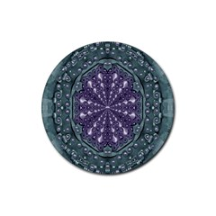 Star And Flower Mandala In Wonderful Colors Rubber Coaster (round)