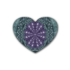 Star And Flower Mandala In Wonderful Colors Rubber Coaster (heart)