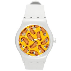 Hot Dog Seamless Pattern Round Plastic Sport Watch (m)