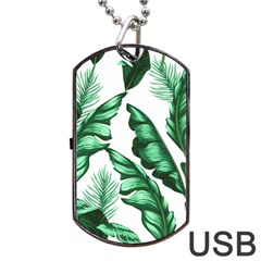 Banana Leaves And Fruit Isolated With Four Pattern Dog Tag Usb Flash (one Side)