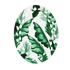 Banana Leaves And Fruit Isolated With Four Pattern Oval Filigree Ornament (two Sides)