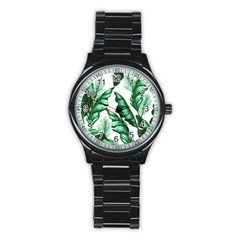 Banana Leaves And Fruit Isolated With Four Pattern Stainless Steel Round Watch