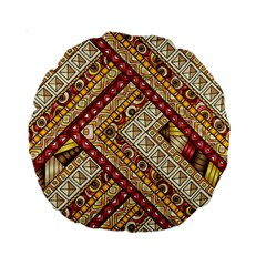 Ethnic Pattern Styles Art Backgrounds Vector Standard 15  Premium Round Cushions