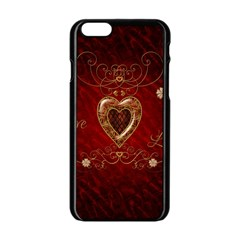 Wonderful Hearts With Floral Elemetns, Gold, Red Apple Iphone 6/6s Black Enamel Case