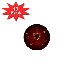 Wonderful Hearts With Floral Elemetns, Gold, Red 1  Mini Buttons (10 Pack)