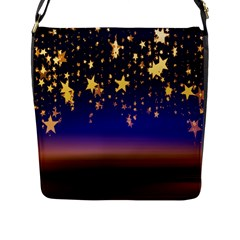 Christmas Background Star Curtain Flap Messenger Bag (l)