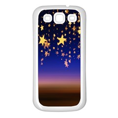 Christmas Background Star Curtain Samsung Galaxy S3 Back Case (white)