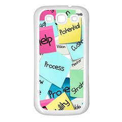 Stickies Post It List Business Samsung Galaxy S3 Back Case (white)