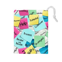 Stickies Post It List Business Drawstring Pouches (large)