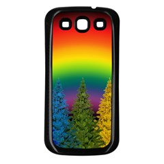 Christmas Colorful Rainbow Colors Samsung Galaxy S3 Back Case (black)