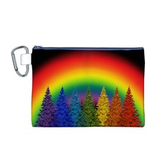 Christmas Colorful Rainbow Colors Canvas Cosmetic Bag (m)