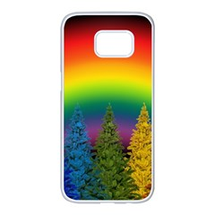 Christmas Colorful Rainbow Colors Samsung Galaxy S7 Edge White Seamless Case