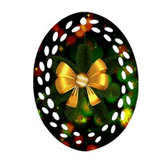 Christmas Celebration Tannenzweig Oval Filigree Ornament (two Sides)