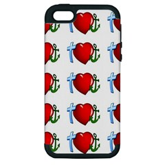 Cross Heart Anchor Love Hope Apple Iphone 5 Hardshell Case (pc+silicone)