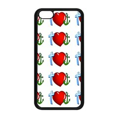Cross Heart Anchor Love Hope Apple Iphone 5c Seamless Case (black)