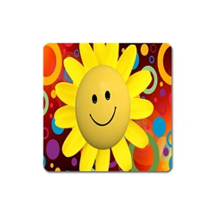 Sun Laugh Rays Luck Happy Square Magnet